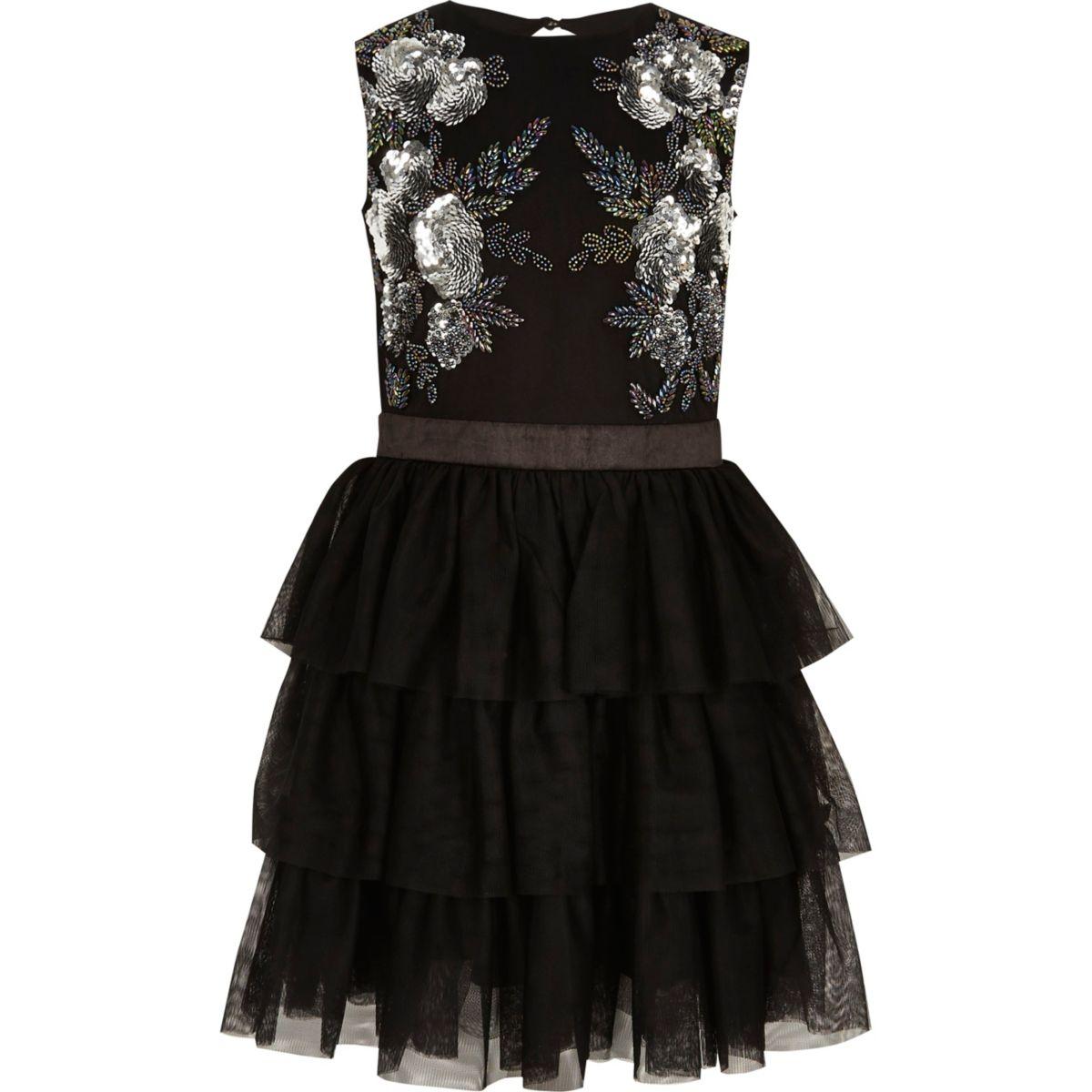 Girls black mesh bead embellished prom dress