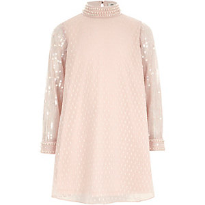 Girls pink sequin sleeve trapeze dress