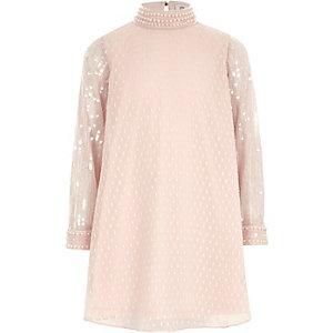 Robe trapèze rose à manches à sequins pour fille