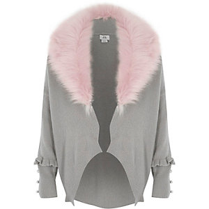 Girls grey removable faux fur collar cardigan