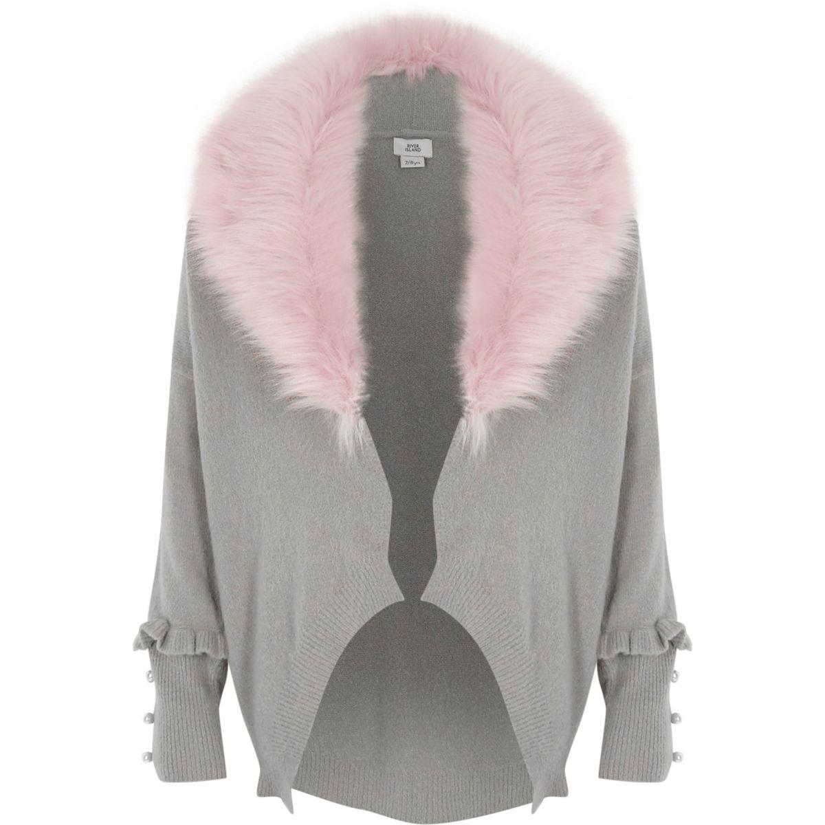 Girls grey removable faux fur collar cardigan