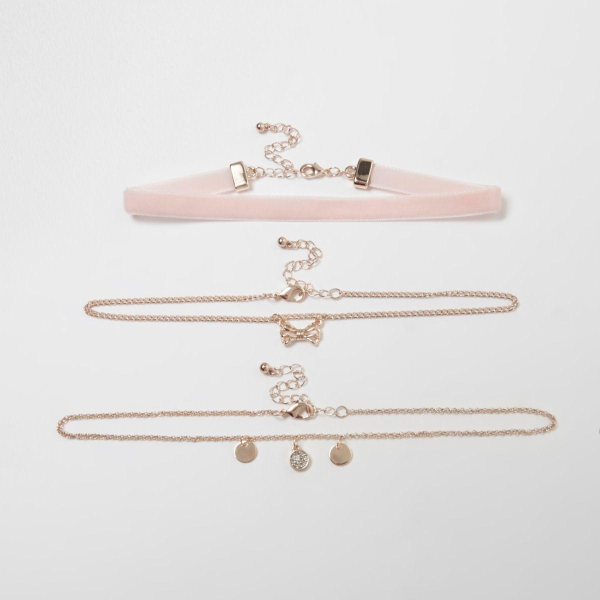 Girls pink velvet bow chain choker set