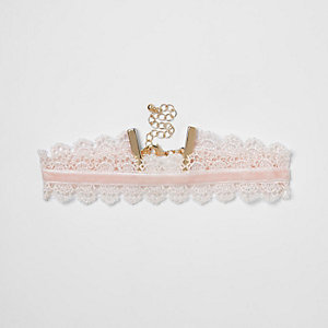 Girls pink lace and velvet choker