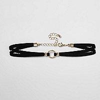 Girls black circle choker