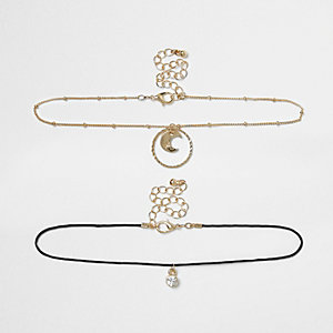 Girls gold tone moon pendant choker set