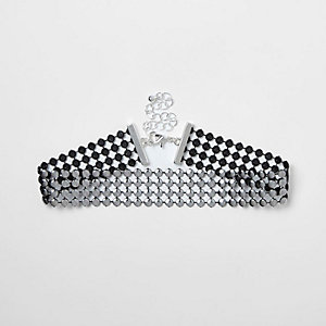 Girls gunmetal studded choker