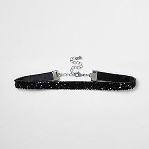 Girls black embellished choker