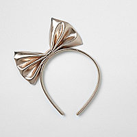 Girls rose gold metallic bow hair band