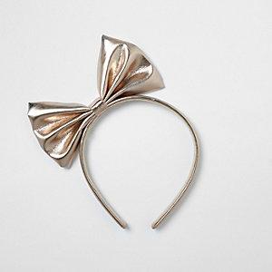 Serre-tête or rose métallisé avec nœud fille