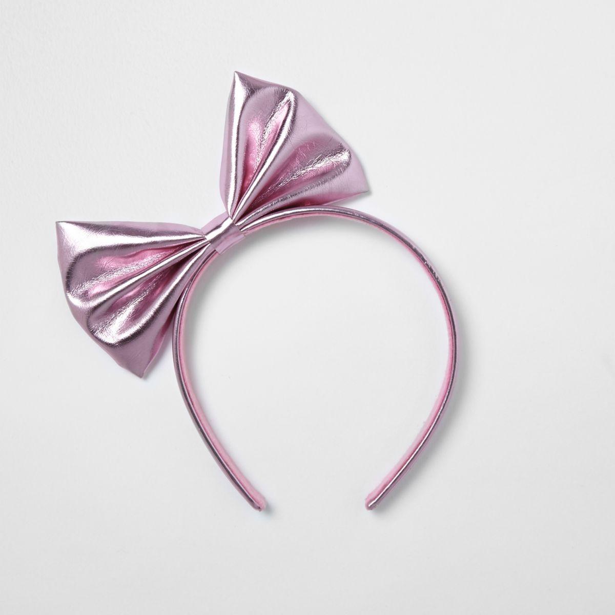 Girls pink metallic bow hair band