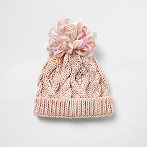 Mini girls pink iridescent knit beanie hat