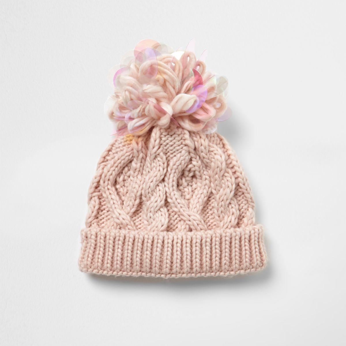 Mini girls pink iridescent knit beanie hat