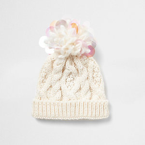 Mini girls cream iridescent knit beanie hat
