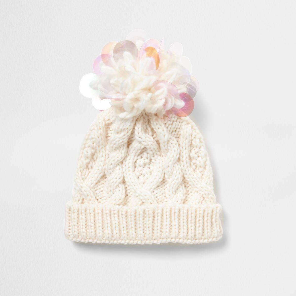 Mini girls cream iridescent knit beanie hat