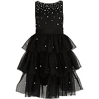 Girls black tulle tiered skirt pearl dress