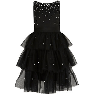 Zwarte jurk met gesmokte tule rok en parels voor meisjes