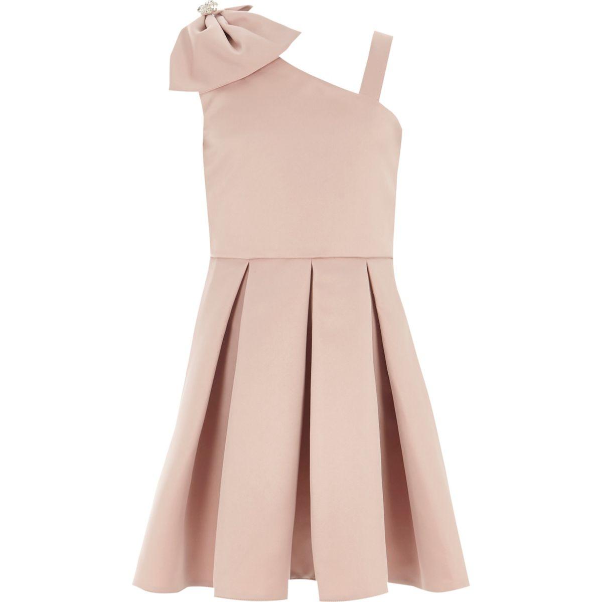 Girls pink satin bow one shoulder prom dress