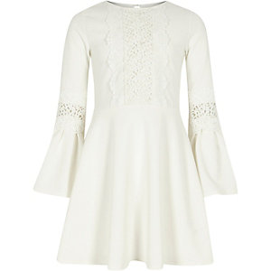 Girls cream lace insert flute sleeve dress