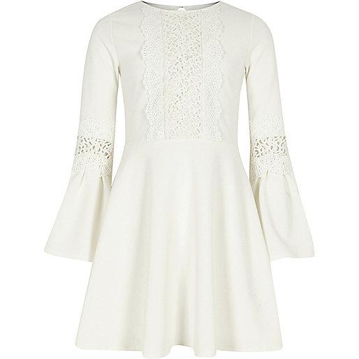 Girls cream lace insert flute sleeve dress