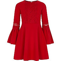 Girls red lace insert flute sleeve dress