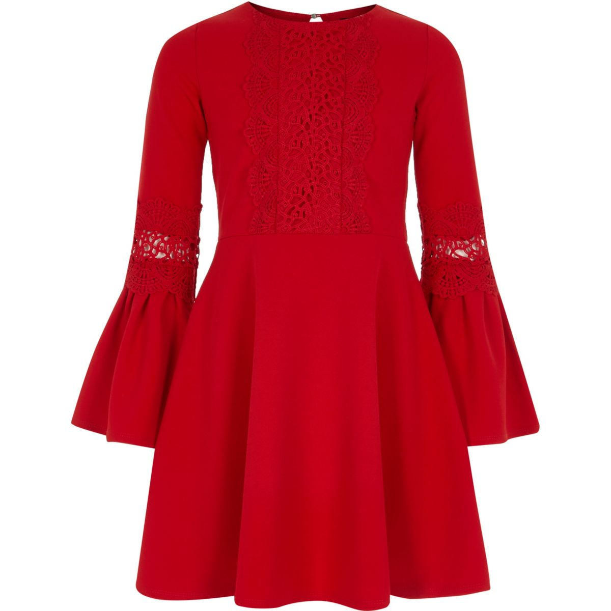 Girls red lace insert flute sleeve dress - Dresses - Sale ...