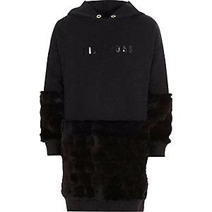 Girls black 'boss' faux fur sweatshirt dress