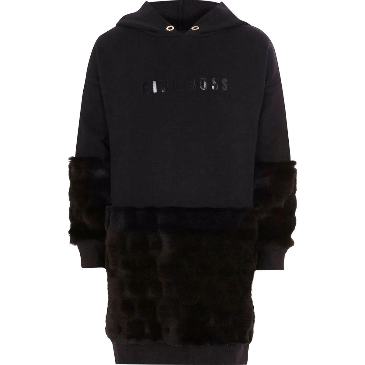 Girls black 'girl boss' faux fur sweater dress