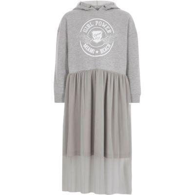 River Island Grijze hoodie-jurk met met mesh rok voor meisjes