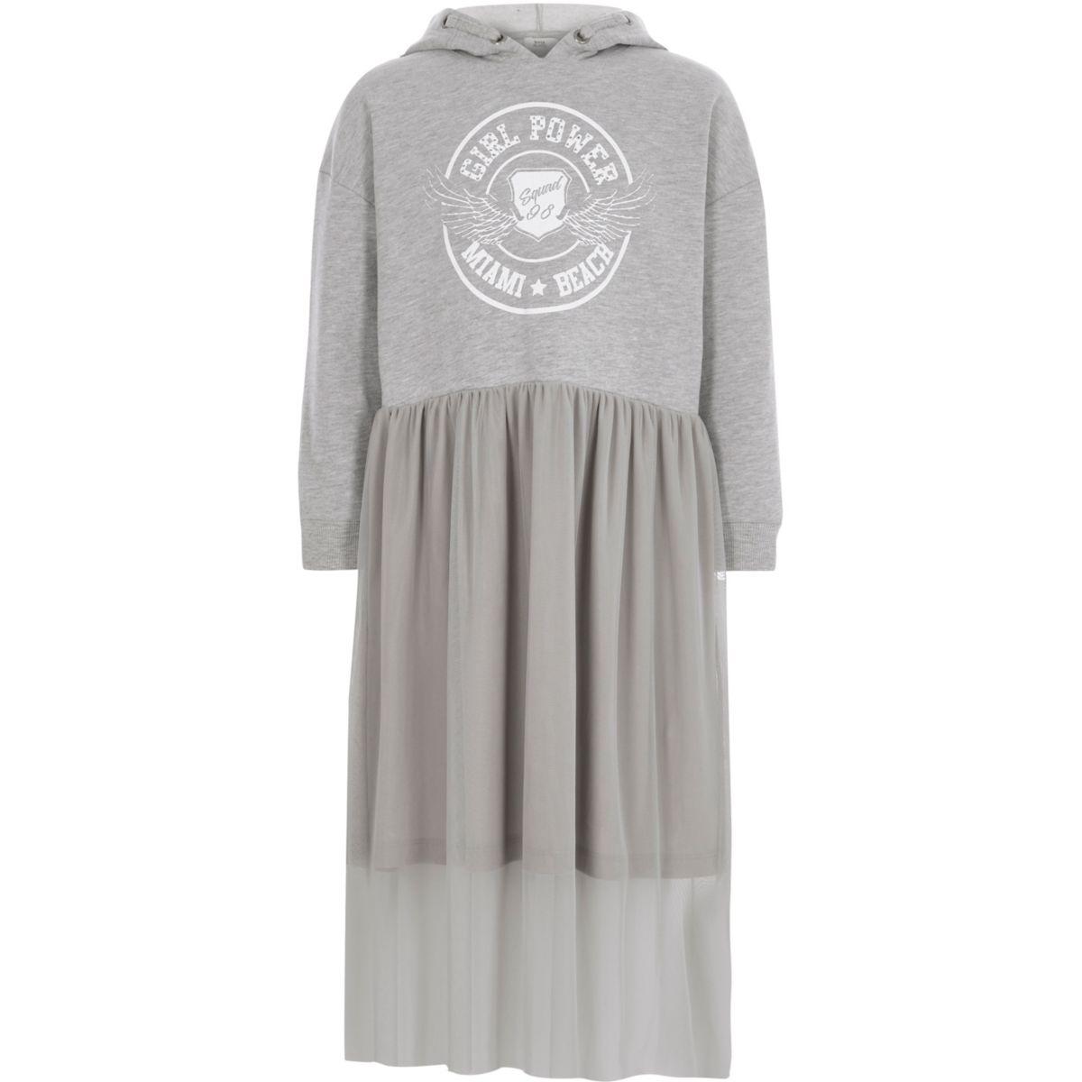 Robe grise à jupe en voile et capuche pour fille