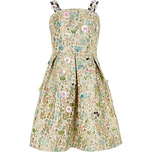 Girls cream floral jacquard prom dress