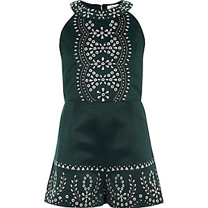 Girls dark green embellished playsuit