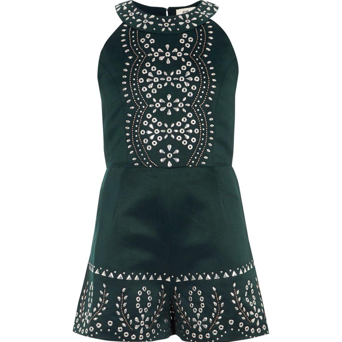 Girls dark green embellished playsuit