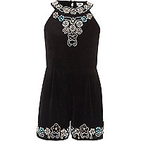 Girls black embellished velvet playsuit