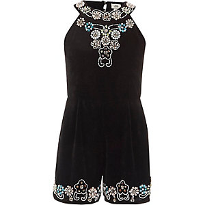 Girls black embellished velvet romper