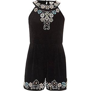 Girls black embellished velvet romper