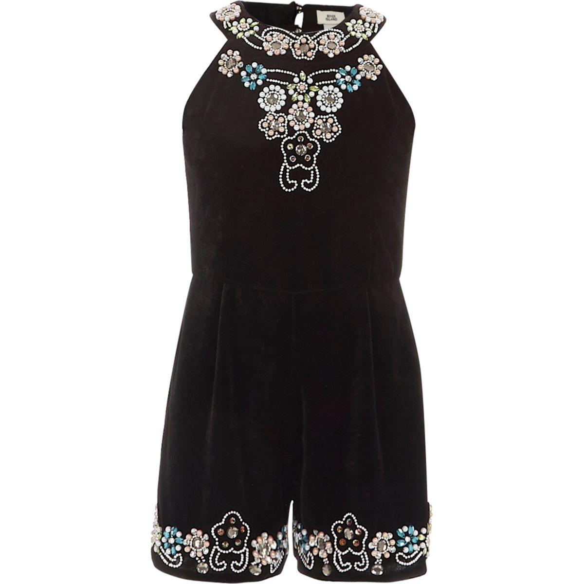River Island Velvet Playsuit