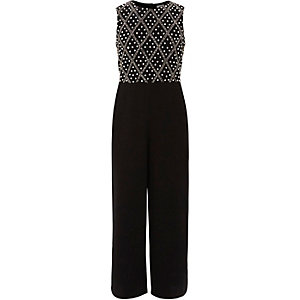 Girls black embellished wide leg jumpsuit