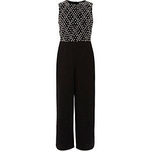 Girls black embellished wide leg jumpsuit