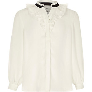 Girls white ruffle blouse