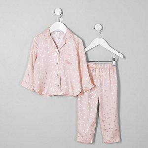 Mini - Roze satijnen pyjamaset met planeten voor meisjes