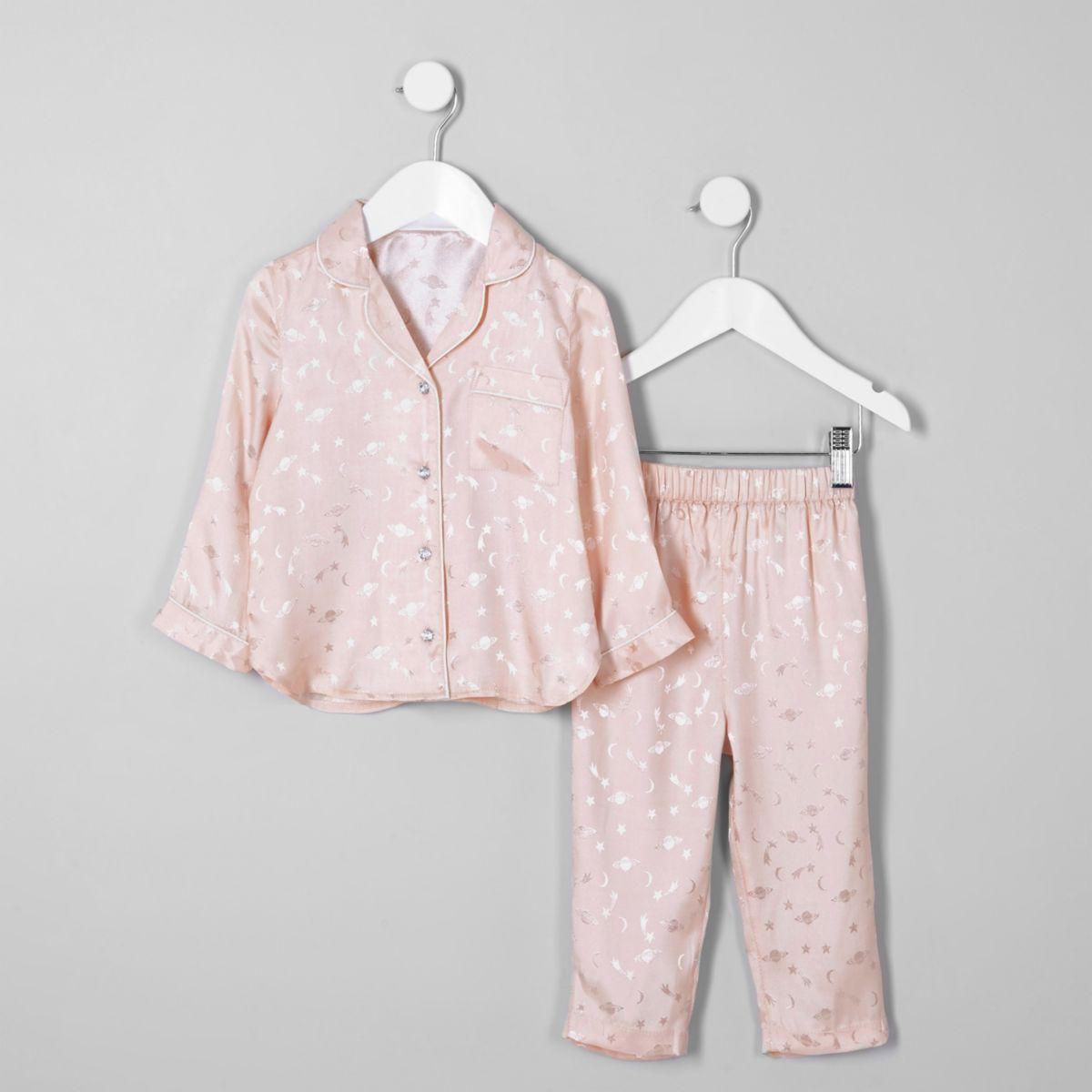 Mini girls pink planet satin pyjama set