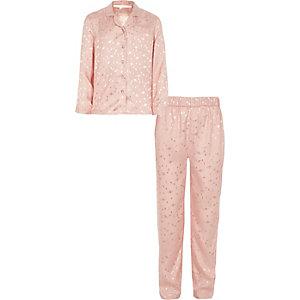 Roze satijnen pyjamaset met planeten voor meisjes