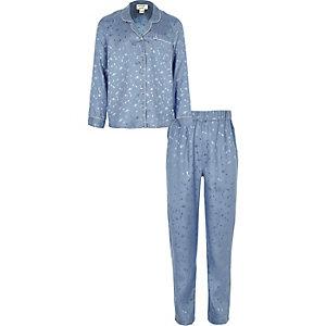 Blauwe satijnen pyjamaset met planeten voor meisjes