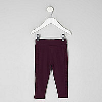 Mini girls dark purple ruffle side leggings