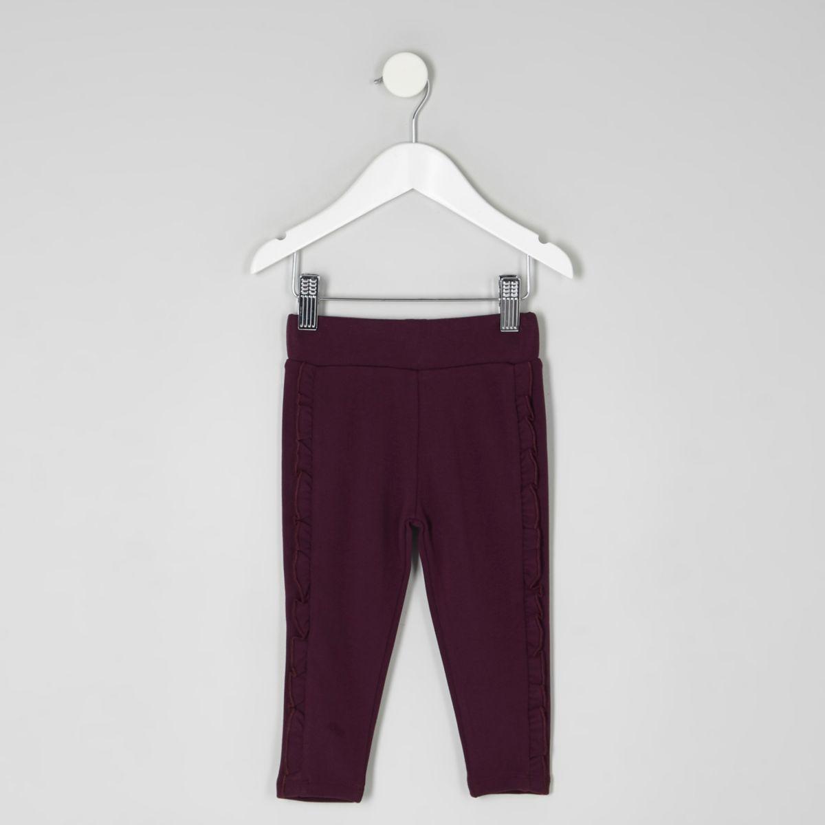 Mini girls dark purple ruffle side leggings