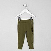 Mini girls khaki ruffle side leggings
