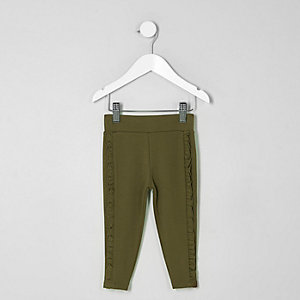 Mini girls khaki ruffle side leggings