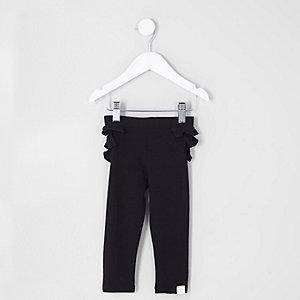 Mini girls black ruffle back leggings
