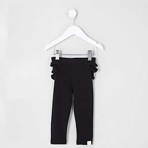 Mini - Zwarte legging met ruches achter voor meisjes