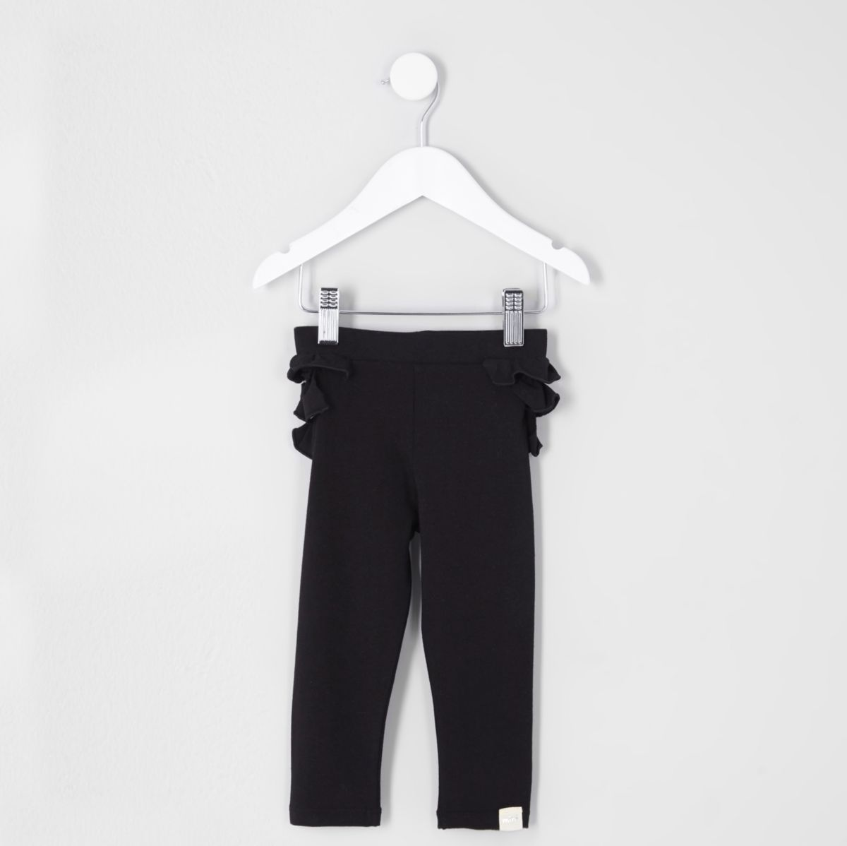 Mini girls black ruffle back leggings